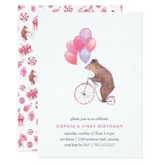 Invitation vintage de fête d'anniversaire d'ours