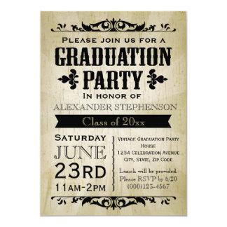Invitation vintage de fête de remise des diplômes
