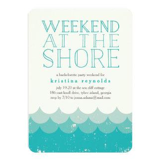 Invitation vintage de fuite de week-end de rivage
