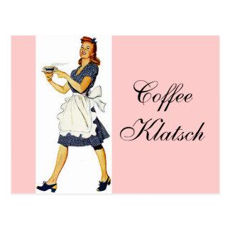 Invitation vintage de Klatsch de café de serveuse