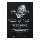 Invitation vintage de mariage de paon de tableau