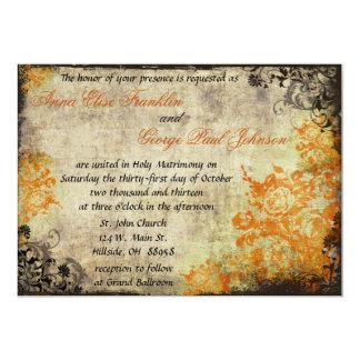 Invitation vintage de mariage de roses oranges