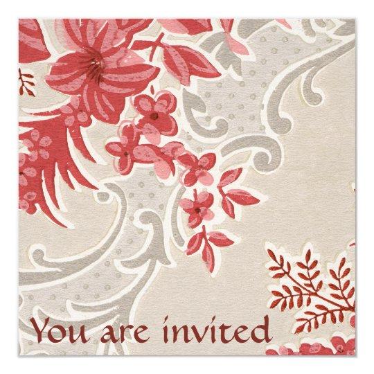 invitation vintage de papier peint de fleurs. Black Bedroom Furniture Sets. Home Design Ideas