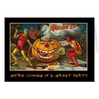 Invitation vintage de partie de Halloween avec le Carte De Vœux
