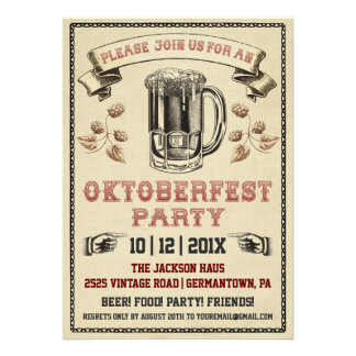 Invitation vintage de partie d'Oktoberfest