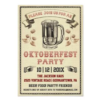 Invitation vintage de partie d'Oktoberfest Carton D'invitation 12,7 Cm X 17,78 Cm