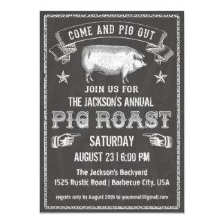 Invitation vintage de rôti de porc de tableau