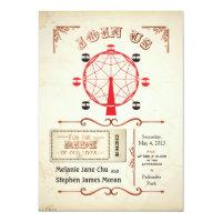 Invitation vintage de roue de Ferris de carnaval