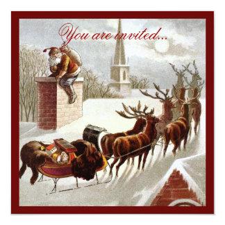 Invitation vintage de Sleigh de renne du père noël