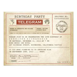invitation vintage de télégramme d anniversaire