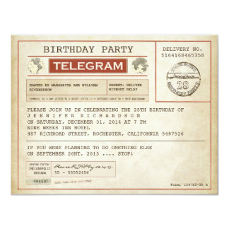 invitation vintage de télégramme d'anniversaire carton d'invitation 10,79 cm x 13,97 cm