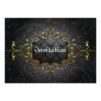 Invitation vintage élégante d or du noir n