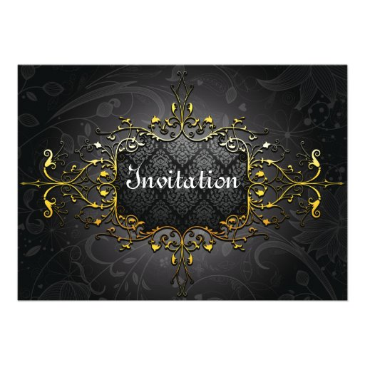 Invitation vintage élégante d'or du noir n