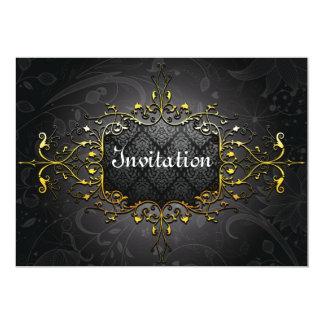 Invitation vintage élégante d'or du noir n carton d'invitation  12,7 cm x 17,78 cm