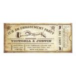 Invitation vintage III de billet de partie de Carton D'invitation 10,16 Cm X 23,49 Cm