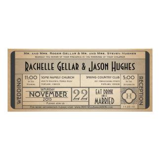 Invitation vintage IV de billet de mariage -- ère