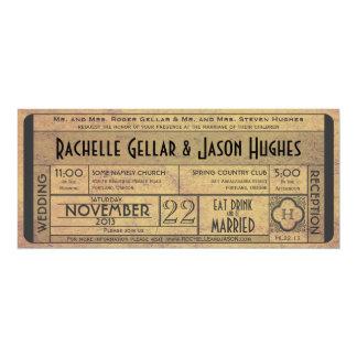 Invitation vintage IV de billet de mariage -- ère Carton D'invitation 10,16 Cm X 23,49 Cm