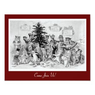 Invitation vintage mignonne de Noël - chats par