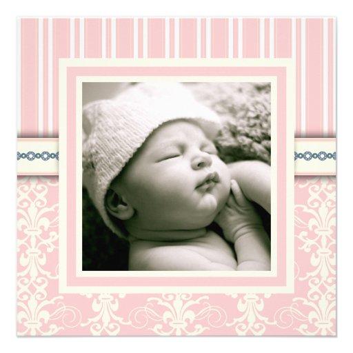Invitation vintage rose de photo de damassé de bap