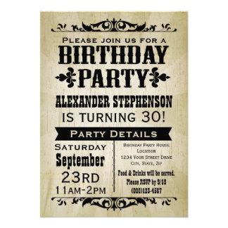 Invitation vintage rustique de fête d anniversaire