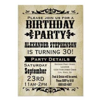 Invitation vintage rustique de fête d'anniversaire