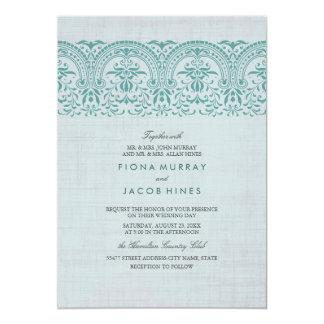 Invitation vintage turquoise de mariage damassé