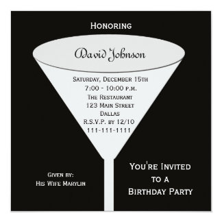 Invitations adultes de fête d'anniversaire --  Un