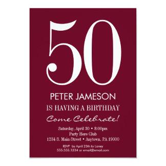 Invitations adultes modernes marron d'anniversaire