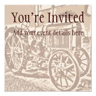 Invitations antiques de coutume de tracteur de