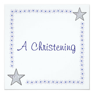 Invitations assez bleues et blanches de baptême
