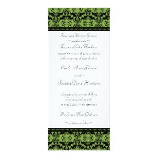 Invitations audacieuses de mariage damassé de vert