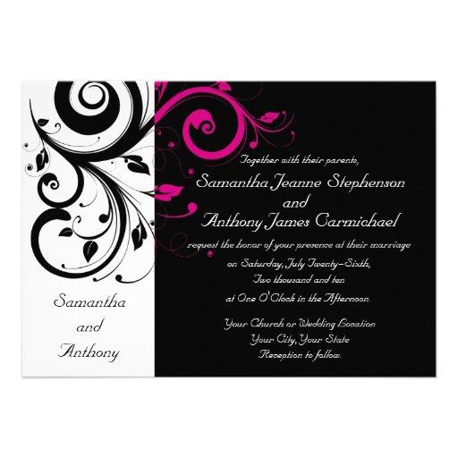 Invitations audacieuses noires/blanches/magenta de