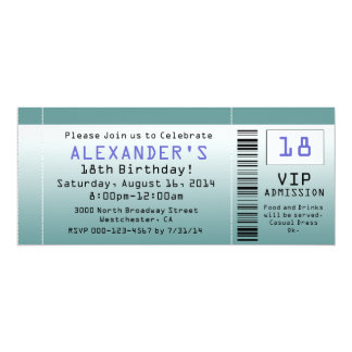 Invitations bleu-vert de billet carton d'invitation  10,16 cm x 23,49 cm