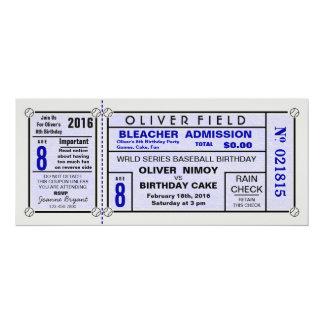 Invitations bleues d'anniversaire de base-ball de