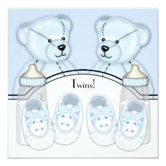 Invitations bleues de baby shower de garçons de