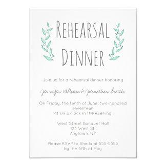 Invitations bleues de dîner de répétition de