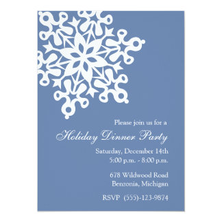 Invitations bleues de fête de vacances de grand