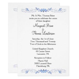 Invitations bleues de mariage d'accent