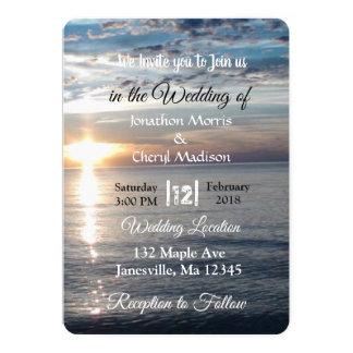 Invitations bleues de mariage de coucher du soleil
