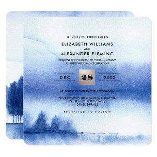 Invitations bleues de mariage de forêt d'hiver