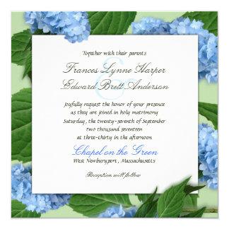 Invitations bleues de mariage d'hortensia de carré