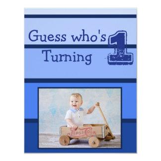 Invitations bleues de partie de bébé de premier
