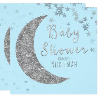 Invitations bleues et argentées de baby shower de