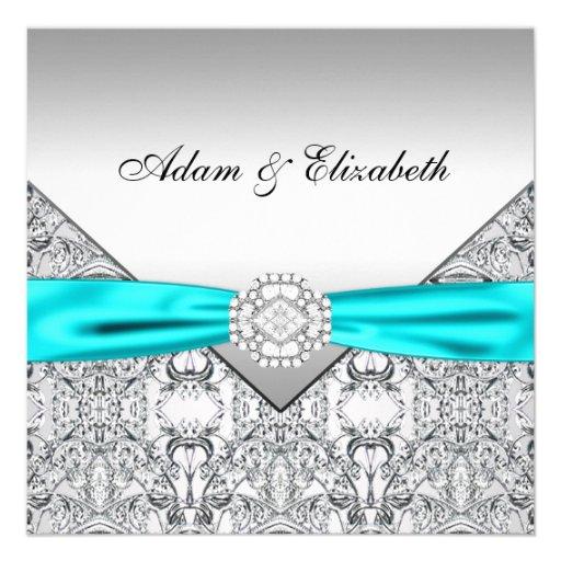 Invitations bleues turquoises argentées élégantes