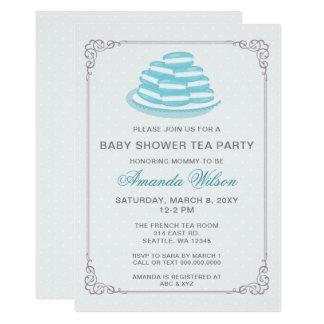 Invitations bleus de thé de baby shower de Macaron