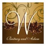 Invitations brun chocolat de mariage de automne