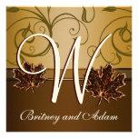 Invitations brun chocolat de mariage de automne d'