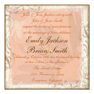 Invitations brunes roses de mariage de carré de
