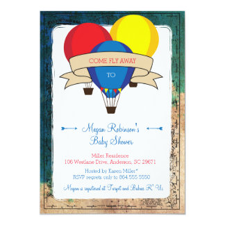 Invitations chaudes de baby shower de ballon à air