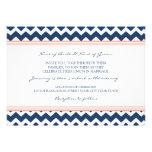 Invitations Chevron bleu de corail de mariage